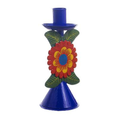 Hand Painted Floral Metal Candlestick