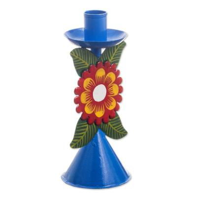 Sky Blue Recycled Metal Candlestick with Flower