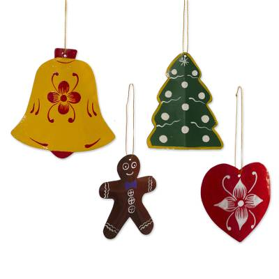 Assorted Recycled Metal Holiday Ornaments (Set of 4)