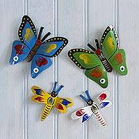 Recycled metal magnets, 'Butterflies and Dragonflies' (set of 4) - Colorful Metal Butterfly and Dragonfly Magnets (Set of 4)