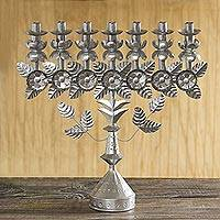 Recycled metal candelabra, 'Garden Whimsy' - Floral Recycled Metal Folk Art Candelabra