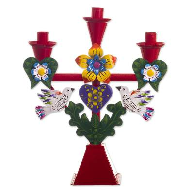 Handmade Candelabra with Heart and Dove Motifs