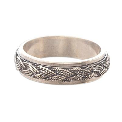 Sterling silver meditation spinner ring, 'Neatly Nautical' - Braided Rope Nautical Style Silver Spinner Ring