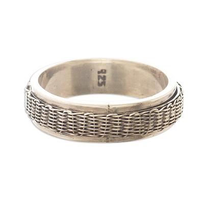 Sterling silver meditation spinner ring, 'Wicker Basket' - Basketweave Sterling Silver Spinner Ring