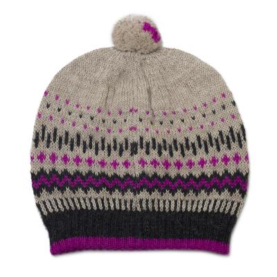 Knit 100% Alpaca Hat with Pompom from Peru