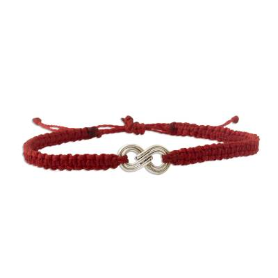 Sterling silver unity bracelet, 'Counting on You' - Handmade Sterling Silver Red Braid Unity Bracelet from Peru