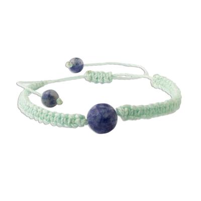 Andean Sodalite & Mint Green Macrame Unity Bracelet
