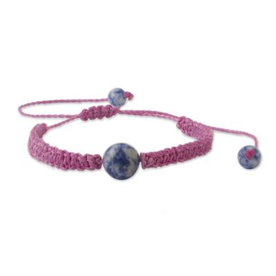 Andean Sodalite & Fuchsia Macrame Unity Bracelet
