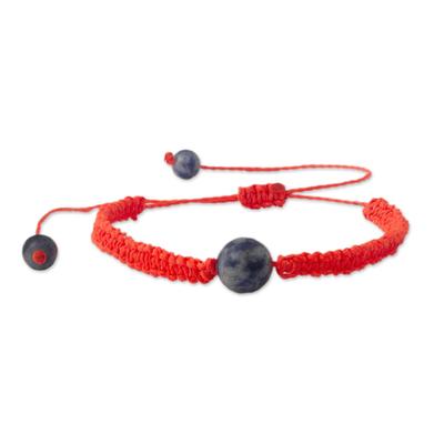 Andean Sodalite & Vivid Orange Macrame Unity Bracelet