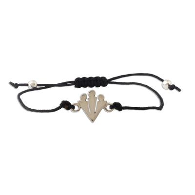 Andean Sterling Silver Pendant Unity Bracelet in Black