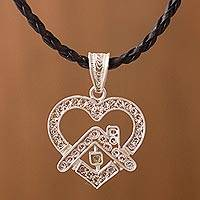 Leather and sterling silver filigree necklace, 'I Love Home' - Leather & 925 Silver Filigree Heart Pendant Unity Necklace
