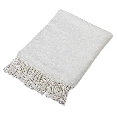 Throw blanket, 'White Andean Textures' - Textured White Alpaca Acrylic Blend Throw Blanket from Peru