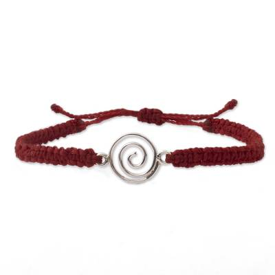 Sterling silver unity bracelet, 'Evolving Together' - Andes Handmade Sterling Silver Red Cord Unity Bracelet
