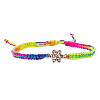 Sterling silver unity bracelet, 'Unity with Nature' - Peru Handmade Rainbow Sterling Silver Macrame Unity Bracelet