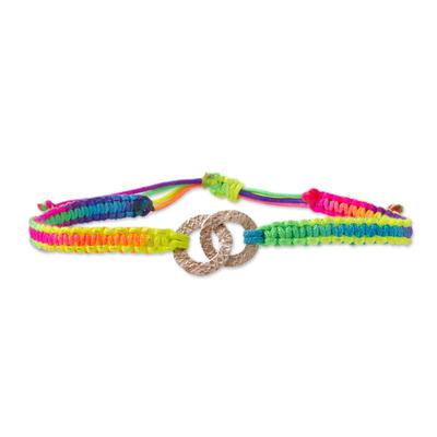 Sterling silver unity bracelet, 'Two in Union' - Rainbow Sterling Silver Macrame Unity Bracelet from Peru