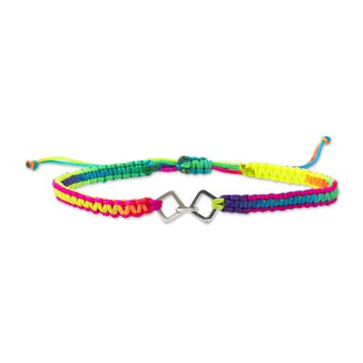 Sterling silver unity bracelet, 'World in Unity' - Peru Rainbow Macrame Sterling Silver Unity Bracelet