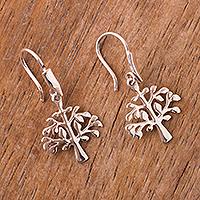 Sterling silver dangle earrings, 'Andean Tree of Life' - Handmade Sterling Silver Tree of Life Earrings