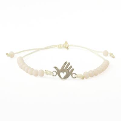 Sterling silver beaded unity bracelet, 'Freedom of Love' - Andean Sterling Silver Pendant Ivory Beaded Unity Bracelet