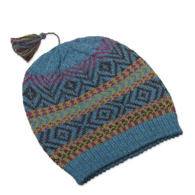 Heathered Teal Patterned 100% Alpaca Wool Knit Hat