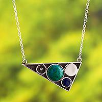 Chrysocolla and sodalite pendant necklace, 'Geometric Movement' - Geometric Design Chrysocolla and Sodalite Necklace