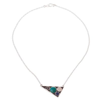 Geometric Design Chrysocolla and Sodalite Necklace