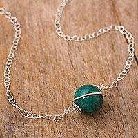 Chrysocolla pendant necklace, 'Planetary Spirals' - Chrysocolla and Sterling Silver Pendant Necklace
