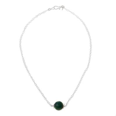 Chrysocolla and Sterling Silver Pendant Necklace