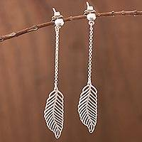 Sterling silver dangle earrings, 'Floating Feather' - Long Feather Motif Sterling Silver Dangle Earrings