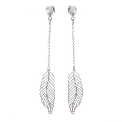 Sterling silver dangle earrings, 'Floating Feather' - Long Feather Motif Sterling Silver Dangle Earrings