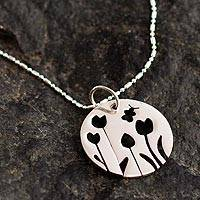 Sterling silver pendant necklace, 'Tulip Garden' - Sterling Silver Floral Motif Pendant Necklace