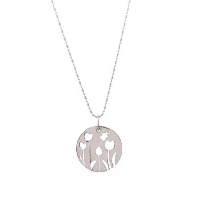 Sterling silver pendant necklace, 'Tulip Garden' - Sterling Silver Floral Motif Pendant Necklace