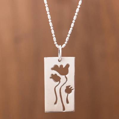 Sterling silver pendant necklace, 'Poppy Garden' - Poppy Flower Sterling Silver Pendant Necklace