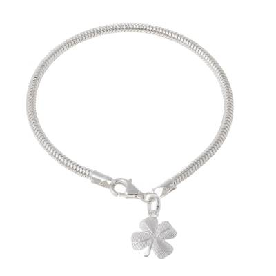 Sterling silver charm bracelet, 'Four Leaves' - Lucky Four Leaf Clover Charm Bracelet