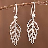 Sterling silver dangle earrings, 'Wind-Blown Leaves' - Sterling Silver Leaf Dangle Earrings