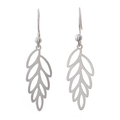 Sterling silver dangle earrings, 'Wind-Blown Leaves' - Sterling Silver Leaf Dangle Earrings