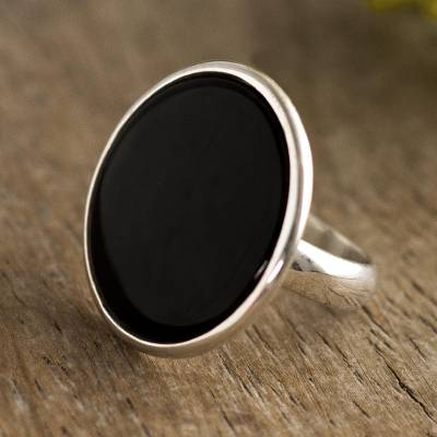 Onyx cocktail ring, 'Majestic Combination' - Elegant Black Onyx Cocktail Ring