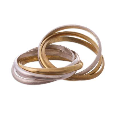 18k gold and sterling silver multi-band ring, 'Seven Circles' - Mixed Metal Multi-Band Ring in Sterling Silver and 18k