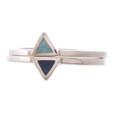 Hand Crafted Amazonite and Sodalite Stacking Rings (Pair)