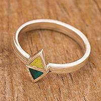 Chrysocolla and serpentine stacking rings, 'Here and There' (pair) - Serpentine and Chrysocolla Stacking Rings (Pair)