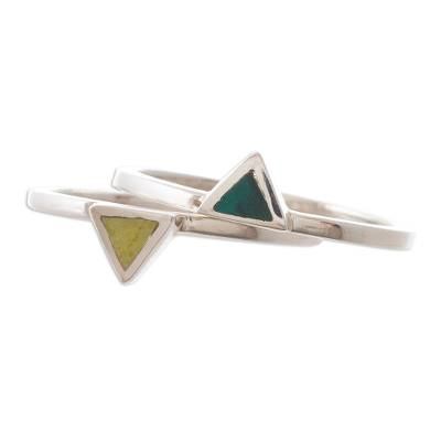 Serpentine and Chrysocolla Stacking Rings (Pair)