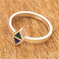 Chrysocolla and sodalite stacking rings, 'Here and There' (pair) - Sterling Silver and Gemstone Stacking Rings (Pair)