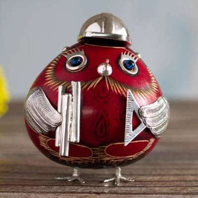 Sterling silver accent gourd figurine, 'Ms. Red Architect Owl' - Red Lady Architect Dried Gourd Owl Figurine with 925 Silver