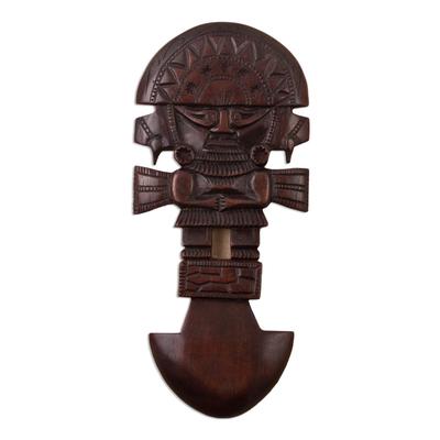 Andean Cedar Wood Inca Tumi Nobleman Wall Sculpture