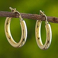 Gold plated hoop earrings, 'Forever Classic'