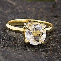 Gold plated quartz solitaire ring, 'Clearly Brilliant'