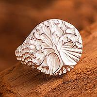 Men's sterling silver signet ring, 'Andean Tree of Life' - Handmade Men's Sterling Silver Tree of Life Ring from Peru