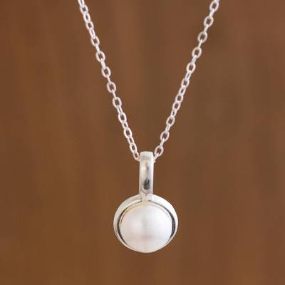 Cultured pearl pendant necklace, 'Luminous Allure' - Handcrafted Andean Silver Cultured Pearl Necklace