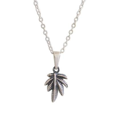 Andean Leaf Nature Theme Sterling Silver Pendant Necklace