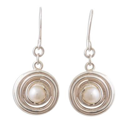 Andean Sterling Silver Dangle Earrings with Cultured Pearl