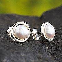 Cultured pearl stud earrings, 'Luminous Allure' - Handcrafted Petite Silver Cultured Pearl Earrings